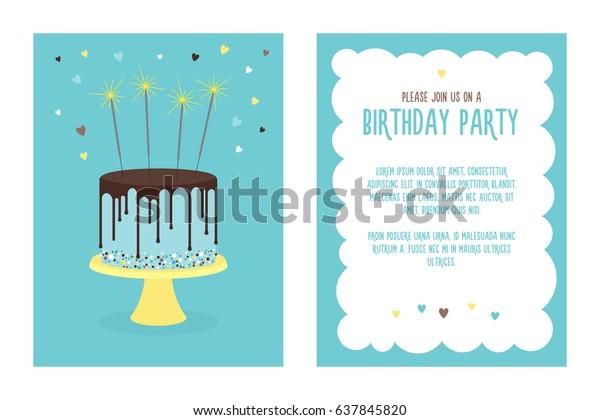 Birthday Invitation Card Cake Sparklers Vector Stock Image