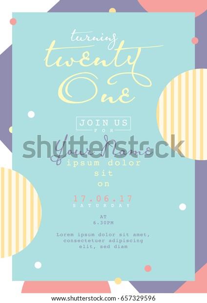 Birthday Invitation Card Design Card Template Stock Vector