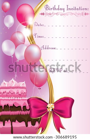 Birthday Invitation Card For Print Printable A Party With Balloons And