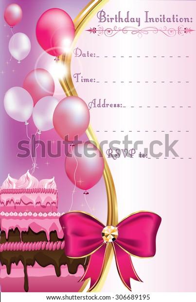 Birthday Invitation Card Print Printable Invitation Stock
