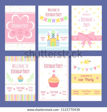 Birthday Invitation Cards Vector Template With Place For Your Text Card