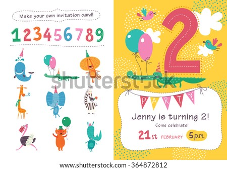 Birthday invitation collection cute animals numbers stock vector birthday invitation collection of cute animals and numbers in childish style for designing own posters filmwisefo