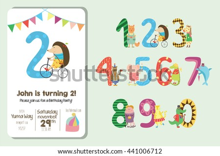 birthday invitation collection cute animals numbers stock vector