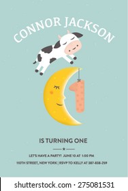 Birthday Invitation with Cow Jumping over the Moon