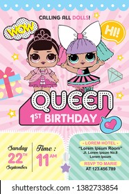 Birthday Invitation with cute Lol Dolls Surprised. First birthday party
