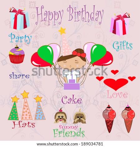 birthday invitation girl facing her cake stock vector royalty free