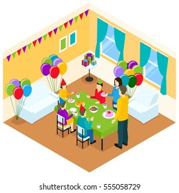 Birthday isometric template with celebrating family at festive table in decorative room vector illustration