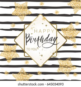 Birthday lettering background with golden stars and glitter. Trendy design for greeting card, poster, banner, invitation. Vector illustration.