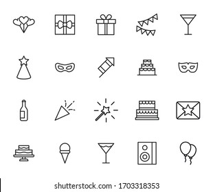 Birthday line icons set. Stroke vector elements for trendy design. Simple pictograms for mobile concept and web apps. Vector line icons isolated on a white background.