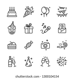 Birthday lines icon set