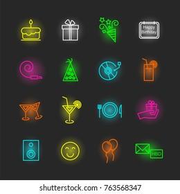 birthday neon icon set, vector design editable stroke