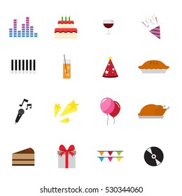 birthday new year party celebrate flat icons