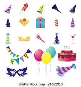 Birthday and New Year Party Stuff icon Set