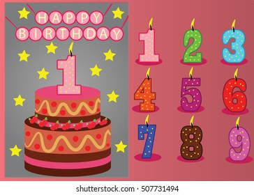 Birthday Numbers Candle with vector illustration. great for birthday card and invitation