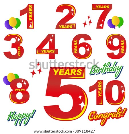 Birthday Numbers Elements Greeting Cards Banners Stock Vector