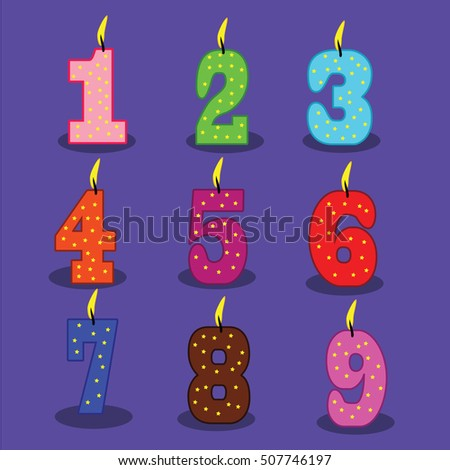 Birthday Numbers Illustration Of Candles On Blue Background