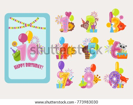Birthday Numbers Vector Cartoon Anniversary Birth Balloon Numbered Icons Birthdate Party Invitation Card Numeral 1