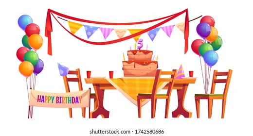 Birthday outside party set isolated on white background. Vector cartoon furniture and decoration, holiday banner, flags garland, cupcake with candles and bunch of balloons. Celebration anniversary