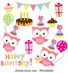 Birthday owls party vector illustration