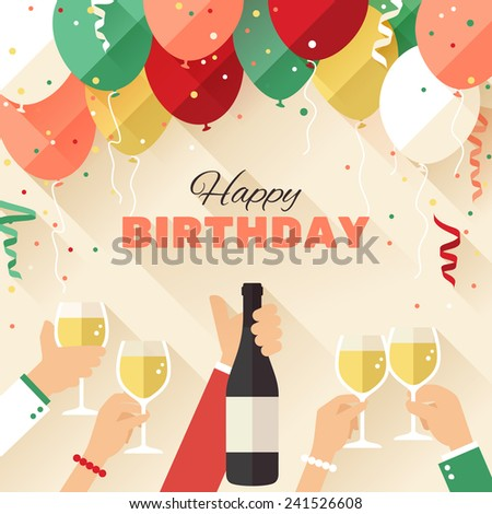 birthday party announcement poster flyer greeting stock vector