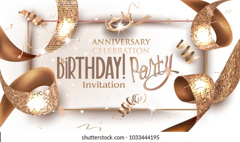 Birthday party banner with golden textured ribbon. Vector illustration
