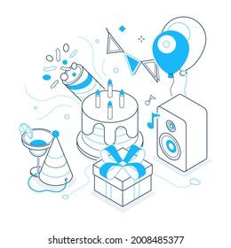Birthday party - black and blue isometric line illustration. Set of holiday celebration symbols, festival elements. Flags, hat, cake, balloons, present, music, birthday cake, petard