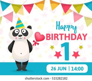 Birthday Party Card. Birthday Anniversary Numbers with Panda  Animal. Celebrating 1 year anniversary