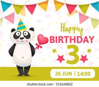 Birthday Party Card. Birthday Anniversary Numbers with Panda  Animal. Celebrating 3 years anniversary