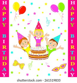 Birthday party card.boy and girl smiling cheerfully raising his hands against the background of a celebratory cake, illustration, vector