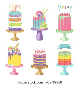 Birthday party celebration cakes. Vector illustration of different types of delicious beautiful modern sweet baked cakes colorful decorated confectioneries with glaze isolated on white.