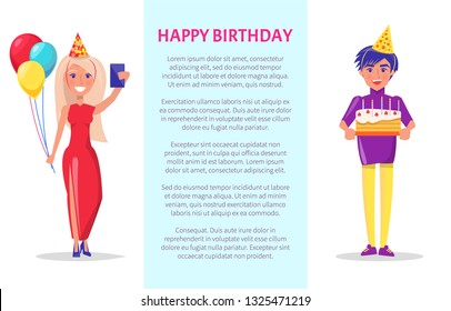 Birthday party celebration, man in festive hat with cake and woman with balloons making selfie. Bday with sweets, happy couple greeting card with text in frame