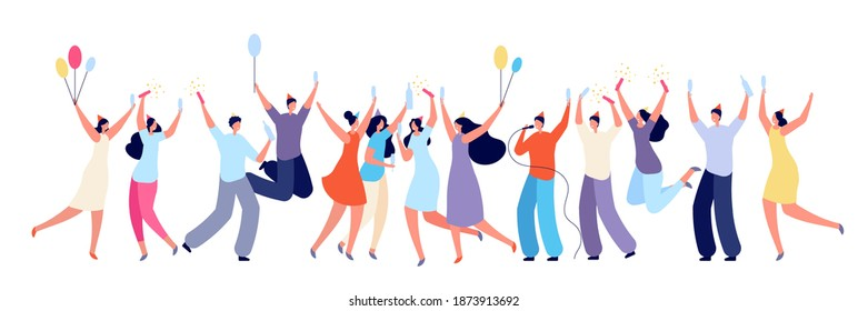 Birthday party concept. Colleagues congratulated, friends surprise event. Isolated people celebration with cake drinks utter vector banner