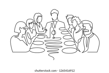 Birthday party continuous one line vector drawing. B-day celebration. Hand drawn family dinner, holiday, festival. Woman and guests sitting at table. Thanksgiving Day illustration. Funeral banquet.