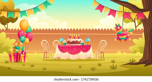 Birthday party decoration on yard. Flags garland, balloons, table and chairs for celebration kids anniversary outside. Vector cartoon illustration of garden with holiday cupcake and gift boxes