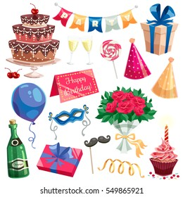 Birthday party decorative icons set of multilevel cake champagne bottle wine glasses candles gift box  flat vector illustration