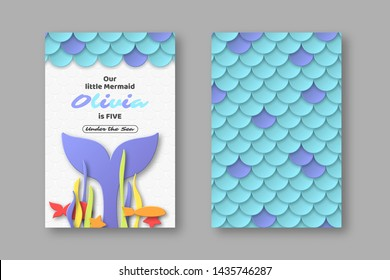 Birthday party design for little girls. Mermaid underwater composition in 3d paper cut style. Fish scales and mermaid tail elements. Place for text. Vector illustration.