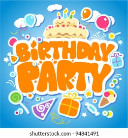 Birthday Party design template for children.