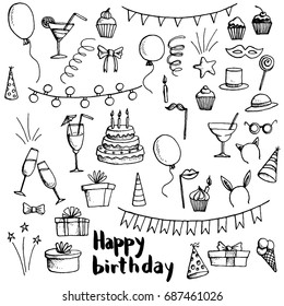 birthday party doodle set, vector isolated hand drawn elements