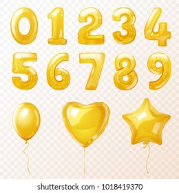 Birthday party golden helium balloons in the form heart, star and number isolated on transperent background. Realistic 3d vector illustration