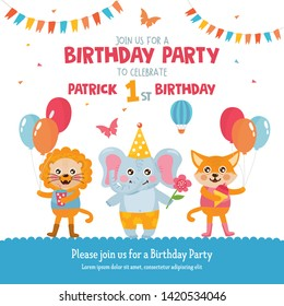 Birthday Party greeting card design. Invitation template with cute animals.  Lion, elephant and fox celebrate Birthday. For Baby Shower, party, invitation.