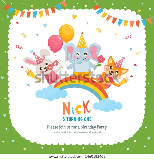 Birthday Party Greeting Card Design Invitation Stock Vector