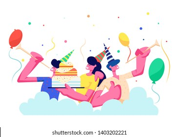 Birthday Party. Group of Cheerful People in Festive Hats Playing Pipes Celebrating Holiday on Colorful Background with Cake, Balloons and Confetti, Men, Women Rejoice. Cartoon Flat Vector Illustration