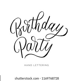 Birthday Party. Hand drawn concept for your design. Custom typography and modern hand lettering. Can be printed on cards, apparel, cups, bags, etc.
