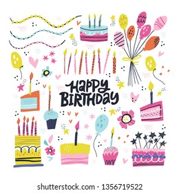 Birthday party hand drawn illustrations set. Greeting card, invitation design elements. Handwritten lettering. B-day cakes with candles, balloons. Holiday celebration, party decoration, accessories