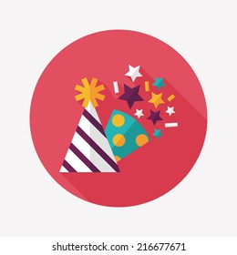 Birthday Party Hat Flat Icon With Long Shadoweps10