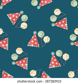 birthday party hat flat icon,eps10 seamless pattern background
