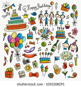 Birthday party, icons for your design