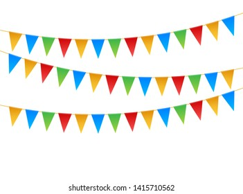 Birthday party invitation banners. Set of flag garlands. Vector stock illustration.