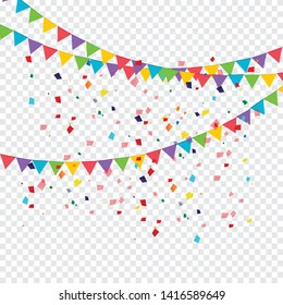 Birthday party invitation banners. Set of flag garlands. Vector illustration