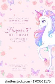 Birthday party invitation with beautiful unicorn surrounded with butterflies and flowers. Template vector illustration on pink background. Release clipping mask for full size objects.